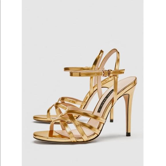 88a8c253285 Zara gold stiletto sandals size 8